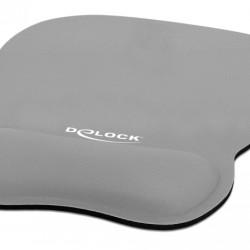 DELOCK Mousepad 12698 με στήριγμα καρπού, 245x206 mm, γκρι