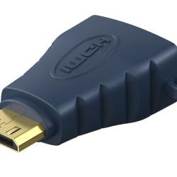 CABLETIME αντάπτορας Mini HDMI C σε HDMI AV599, with Ring, 4K, μπλε