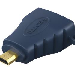 CABLETIME αντάπτορας Micro HDMI D σε HDMI AV599, με ring, 4K, μπλε