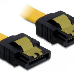 DELOCK Καλώδιο SATA III 7-pin σε 7-pin 82481, metal clip, 0.7m