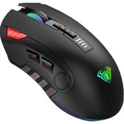 AULA ενσύρματο gaming ποντίκι Fire H512, 5000DPI, 12 πλήκτρα, RGB, μαύρο