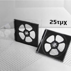 Πλαστική θήκη για 4 CD/DVD σε διάφανο/μαύρο χρώμα, 10.4mm, 25τμχ