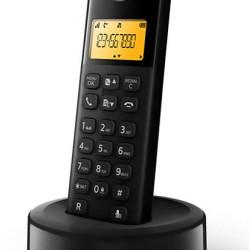 PHILIPS ασύρματο τηλέφωνο D1601B/34, με ελληνικό μενού, μαύρο