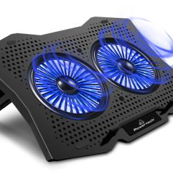 """POWERTECH Βάση & ψύξη laptop PT-929, έως 18"""", 2x 110mm fan, LED, μαύρο"""