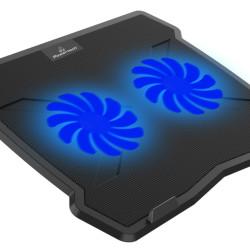 """POWERTECH Βάση & ψύξη laptop PT-930, έως 15.6"""", 2x 125mm fan, LED, μαύρο"""
