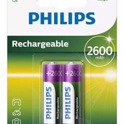 PHILIPS επαναφορτιζόμενη μπαταρία R6B2A260 2600mAh, AA HR6 Mignon, 2τμχ
