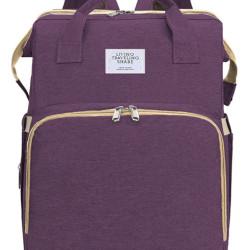2 in 1 τσάντα πλάτης και παιδικό κρεβατάκι TMV-0051, αδιάβροχη, μωβ