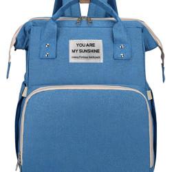 2 in 1 τσάντα πλάτης και παιδικό κρεβατάκι TMV-0052, αδιάβροχη, μπλε